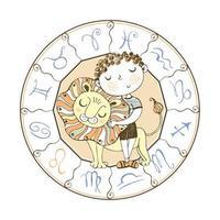 Zodiac sign Leo. Cute boy with lion