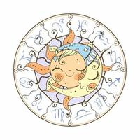 The sun and the moon astrology symbol vector