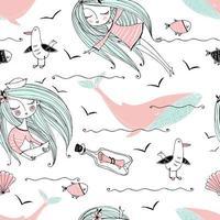 patrón de tema marino con chicas, ballenas y gaviotas