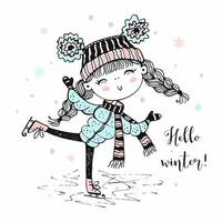 A cute girl in a knitted hat skating. vector