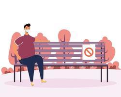 Man practicing social distancing at the park vector
