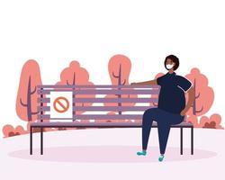 mujer practicando el distanciamiento social en el parque vector
