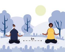 Pareja de descendientes africanos practicando yoga en el parque vector