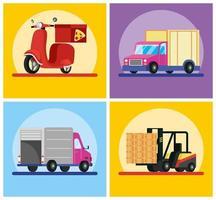 conjunto de composición de servicio de entrega vector