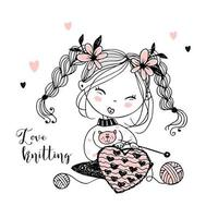 A cute little girl knits a woolen heart vector