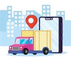 servicio de entrega online en la ciudad vector