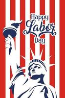 Happy USA Labor Day celebration with liberty statue vector