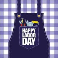 Happy Labor Day celebration with apron vector