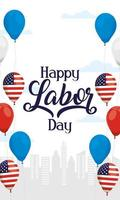 Happy Labor Day celebration with balloons vector