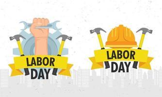 celebración del día del trabajo con casco y herramientas. vector