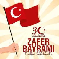 Zafer Bayrami celebration card with Turkish flag vector