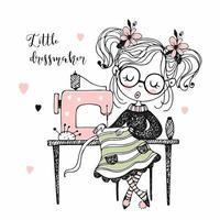 Cute girl seamstress sews on a sewing machine vector