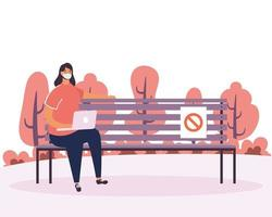 Woman practicing social distancing at the park vector
