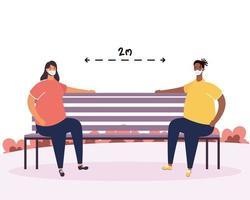 personas que practican el distanciamiento social en el parque. vector