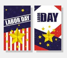 Happy USA Labor Day celebration set vector