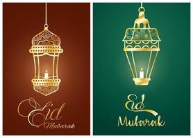 cartel de celebración de eid mubarak con lámparas colgantes