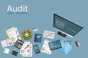 Auditing top view design concept vector