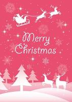 Christmas poster with Santa Claus and reindeers vector