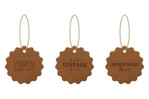 Set of leather labels vector