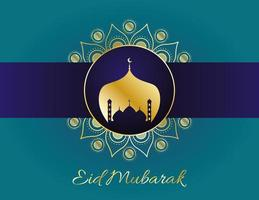 banner de celebración de eid mubarak vector