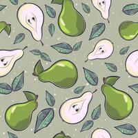 Cartoon seamless pattern with pears and leaves vector