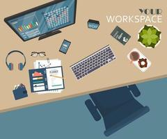 vista superior del lugar de trabajo de la oficina moderna