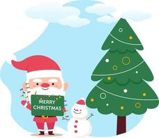 Merry Christmas greeting card with Santa and tree vector