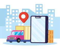 Online delivery service in the city vector