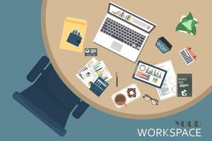Top view of modern office workplace vector