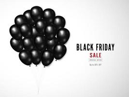 Black Friday sale design with shiny black balloon bouquet