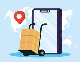 Online delivery service concept with smartphone vector