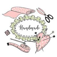 lindo marco en estilo doodle de costura de costura