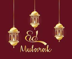 Banner de celebración de eid mubarak con lámparas colgantes.