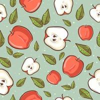 Summer tropical seamless pattern with apples and leaves vector