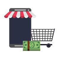 Online shopping and payment technology symbols vector