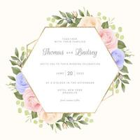 Pastel Roses with Geometric Frame vector