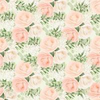 Seamless Pattern of Blush Roses and Foliage vector