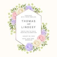 Geometric Wedding Frame with Pastel Roses vector