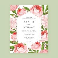 English Roses Floral Save the Date Card Background vector