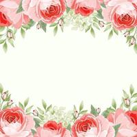 Card Template with English Roses Floral Borders vector