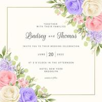 Floral Wedding Card Template with Roses and Frame vector