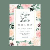 Roses Wedding Invitation Card Vertical Template vector