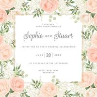 Blush Roses Frame Wedding Card Template vector