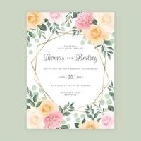 Roses and Foliage Border with Gold Geometric Frame vector