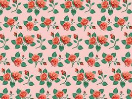 Red Roses Seamless Background vector