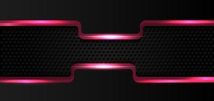 Pink glow shiny border on black metal background vector