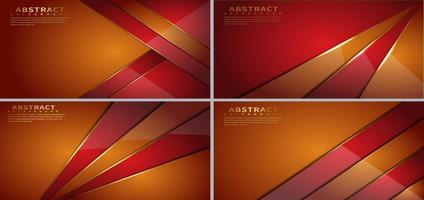 Set of orange and red diagonal geometric overlapping shapes vector