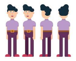 personaje masculino plano en diferentes posiciones. vector
