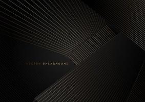 líneas doradas abstractas en superposiciones diagonales sobre negro vector