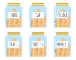 frasco de vidrio con ahorros etiquetados vector